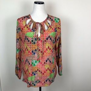 DREW 100% silk multicolor groovy blouse top